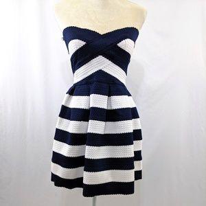 Sans Souci Navy/White Striped Sweetheart Dress S